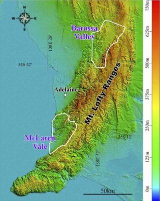 南澳洲麥克拉倫谷和巴羅莎谷的位置及地形對比。
