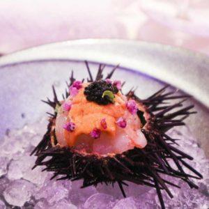 甜蝦海膽配魚子醬