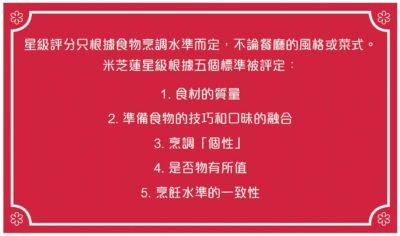米芝蓮星級跟據5個標準被評定