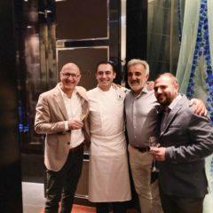 左起1至3:意大利酒商Michele Volpato, Cheese Meets Wine、 Tosca di Angelo總廚Angelo Agliano、 西西里島COS酒莊創立人Giusto Occhipinti