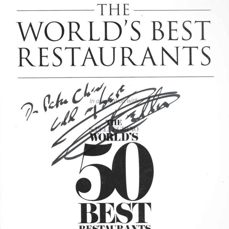 附上托馬斯・凱勒簽名的第一本「世界最佳50餐廳榜」的書